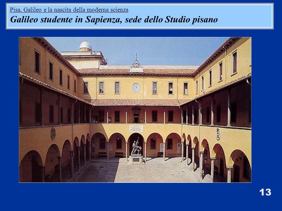 13 Pisa, Galileo e la nascita della moderna scienza Galileo studente in Sapienza, sede dello Studio pisano