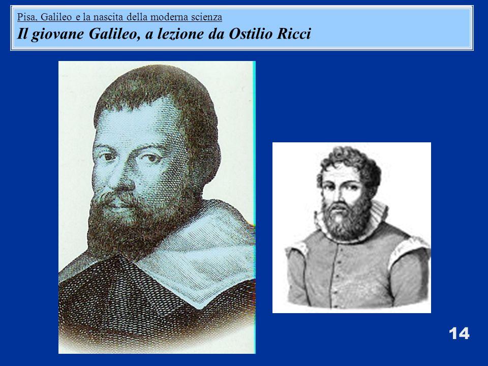 14 Pisa, Galileo e la nascita della moderna scienza Il giovane Galileo, a lezione da Ostilio Ricci Pisa, Galileo e la nascita della moderna scienza Il giovane Galileo, a lezione da Ostilio Ricci