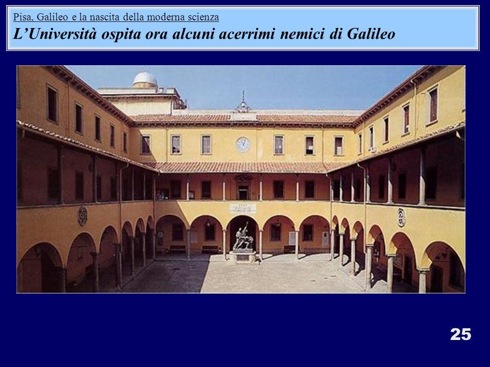 25 Pisa, Galileo e la nascita della moderna scienza LUniversità ospita ora alcuni acerrimi nemici di Galileo