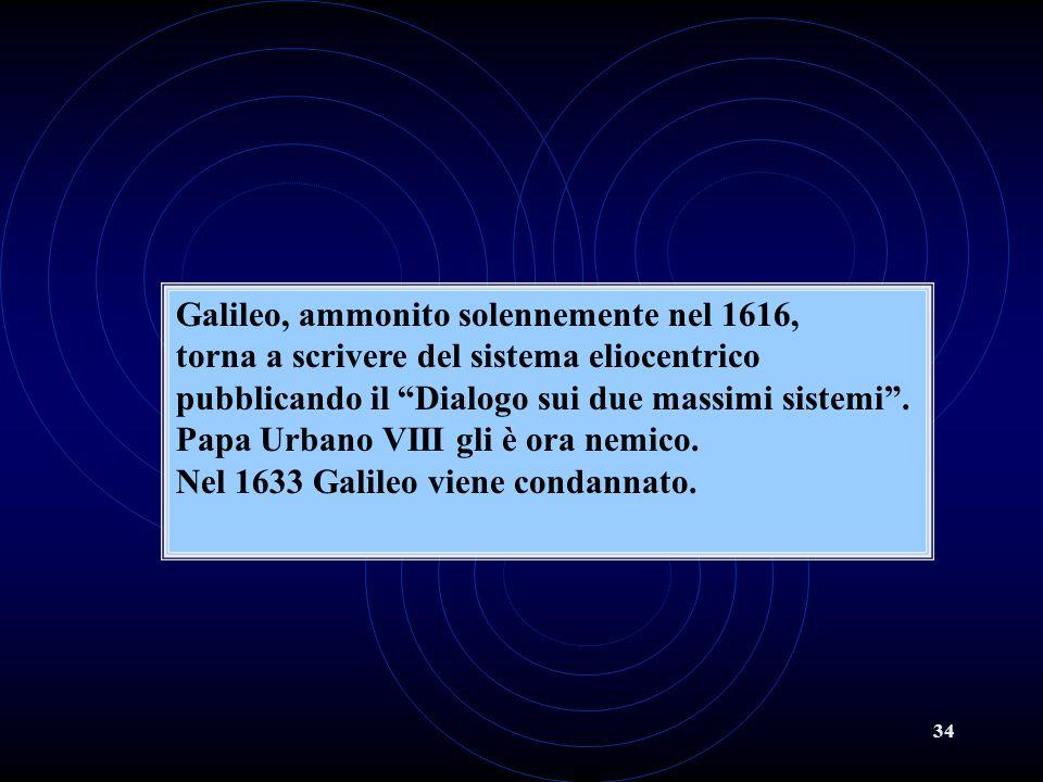 34 Galileo, ammonito solennemente nel 1616, torna a scrivere del sistema eliocentrico pubblicando il Dialogo sui due massimi sistemi. Papa Urbano VIII