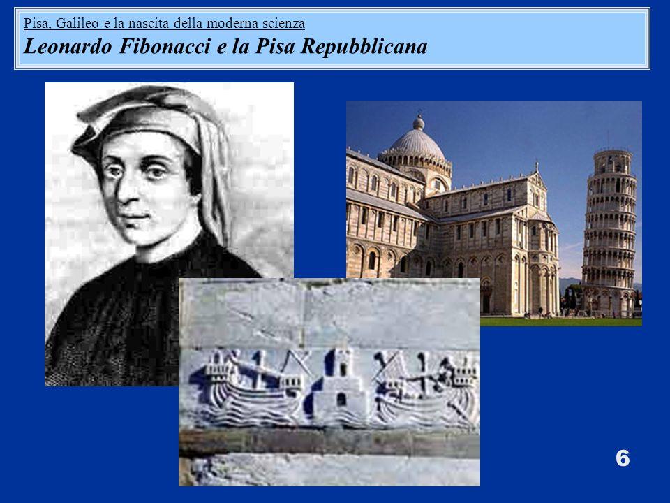 6 Pisa, Galileo e la nascita della moderna scienza Leonardo Fibonacci e la Pisa Repubblicana