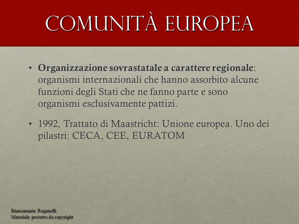 Comunità europea Organizzazione sovrastatale a carattere regionale : organismi internazionali che hanno assorbito alcune funzioni degli Stati che ne f