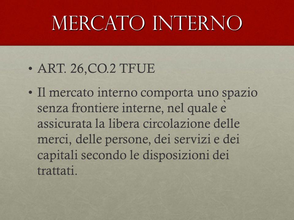 Mercato interno ART. 26,CO.2 TFUE Il mercato interno comporta uno spazio senza frontiere interne, nel quale e ̀ assicurata la libera circolazione dell