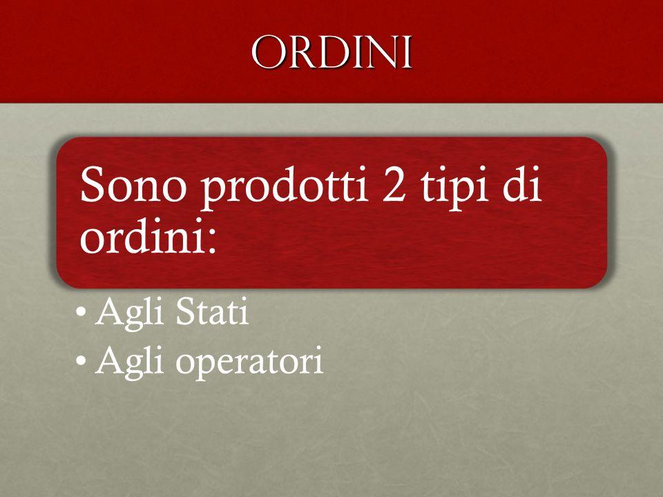 ordini Sono prodotti 2 tipi di ordini: Agli Stati Agli operatori