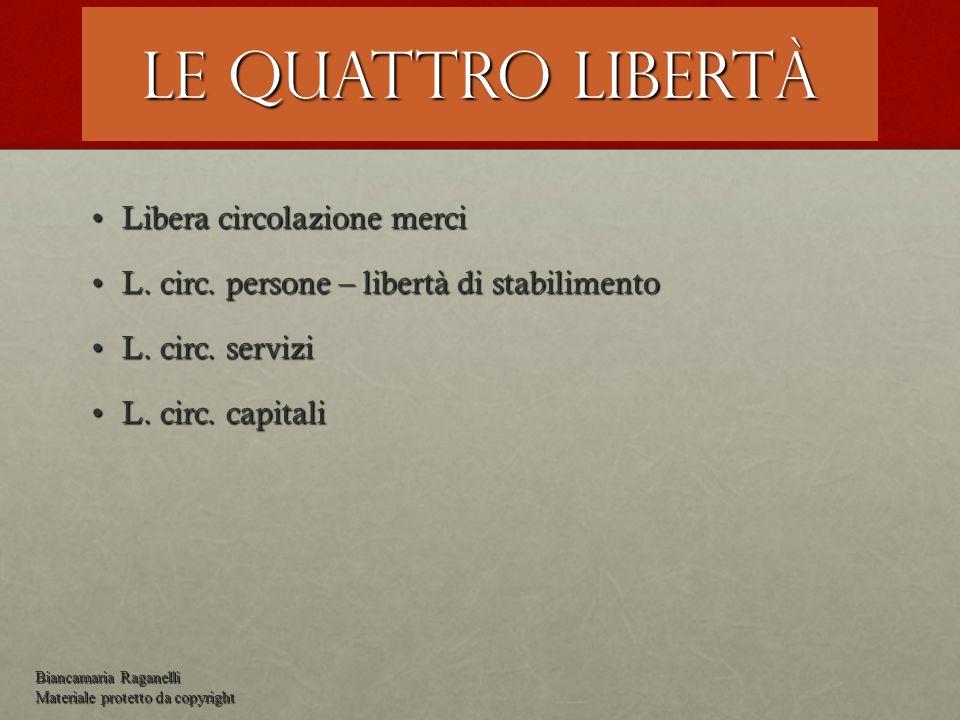 Le quattro libertà Libera circolazione merciLibera circolazione merci L. circ. persone – libertà di stabilimentoL. circ. persone – libertà di stabilim