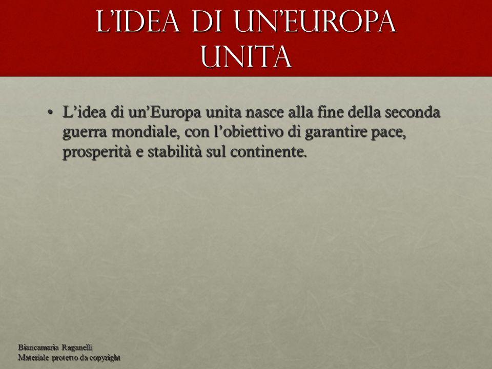 Lidea di unEuropa unita Lidea di unEuropa unita nasce alla fine della seconda guerra mondiale, con lobiettivo di garantire pace, prosperità e stabilit