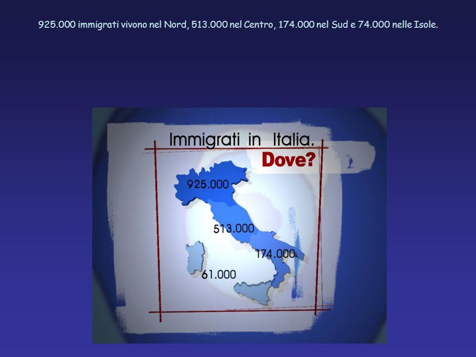 925.000 immigrati vivono nel Nord, 513.000 nel Centro, 174.000 nel Sud e 74.000 nelle Isole.