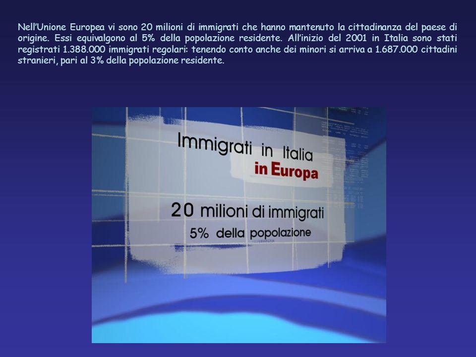NellUnione Europea vi sono 20 milioni di immigrati che hanno mantenuto la cittadinanza del paese di origine. Essi equivalgono al 5% della popolazione