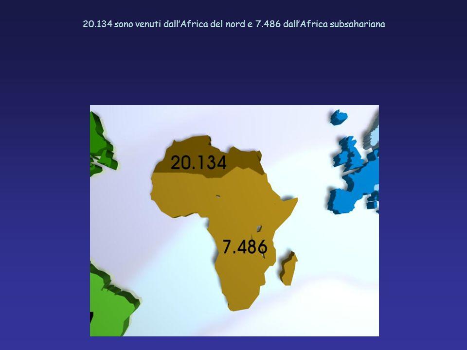 20.134 sono venuti dallAfrica del nord e 7.486 dallAfrica subsahariana