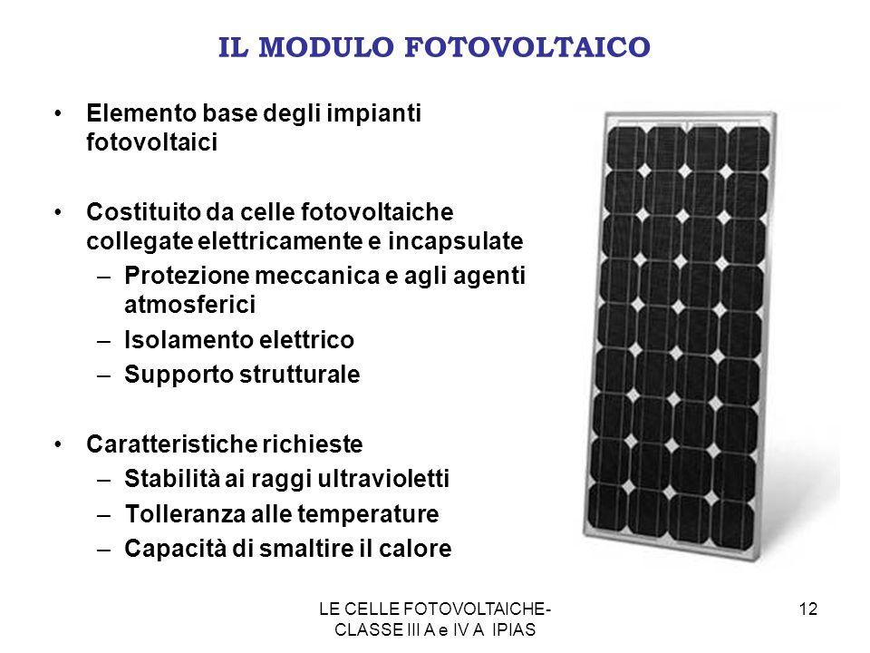 12 IL MODULO FOTOVOLTAICO Elemento base degli impianti fotovoltaici Costituito da celle fotovoltaiche collegate elettricamente e incapsulate –Protezio