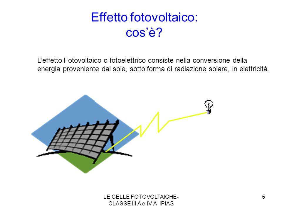 5 Leffetto Fotovoltaico o fotoelettrico consiste nella conversione della energia proveniente dal sole, sotto forma di radiazione solare, in elettricit