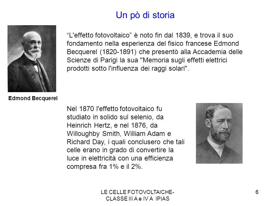 6 Edmond Becquerel Un pò di storia Nel 1870 l'effetto fotovoltaico fu studiato in solido sul selenio, da Heinrich Hertz, e nel 1876, da Willoughby Smi