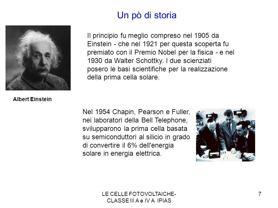 7 Albert Einstein Un pò di storia Gerald Pearson, Daryl Chapin, e Calvin Fuller Il principio fu meglio compreso nel 1905 da Einstein - che nel 1921 pe