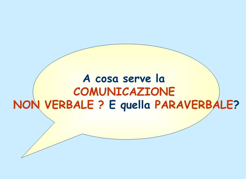 A cosa serve la COMUNICAZIONE NON VERBALE ? E quella PARAVERBALE?