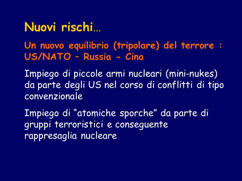 Nuovi rischi… Un nuovo equilibrio (tripolare) del terrore : US/NATO – Russia - Cina Impiego di piccole armi nucleari (mini-nukes) da parte degli US nel corso di conflitti di tipo convenzionale Impiego di atomiche sporche da parte di gruppi terroristici e conseguente rappresaglia nucleare