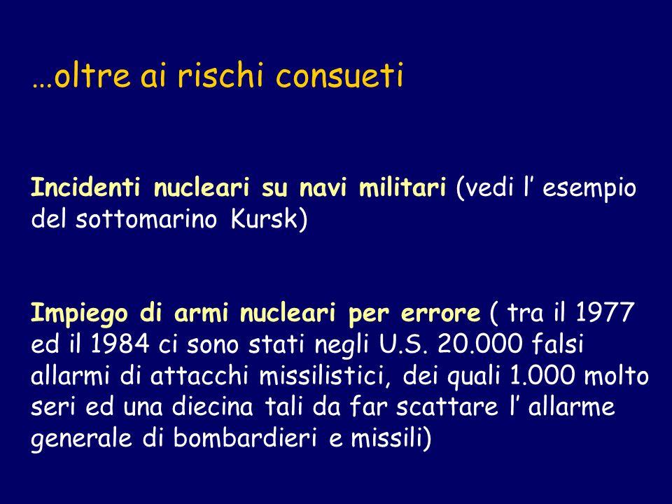 …oltre ai rischi consueti Incidenti nucleari su navi militari (vedi l esempio del sottomarino Kursk) Impiego di armi nucleari per errore ( tra il 1977 ed il 1984 ci sono stati negli U.S.