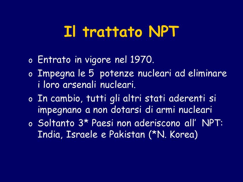 Il trattato NPT o Entrato in vigore nel 1970. o Impegna le 5 potenze nucleari ad eliminare i loro arsenali nucleari. o In cambio, tutti gli altri stat