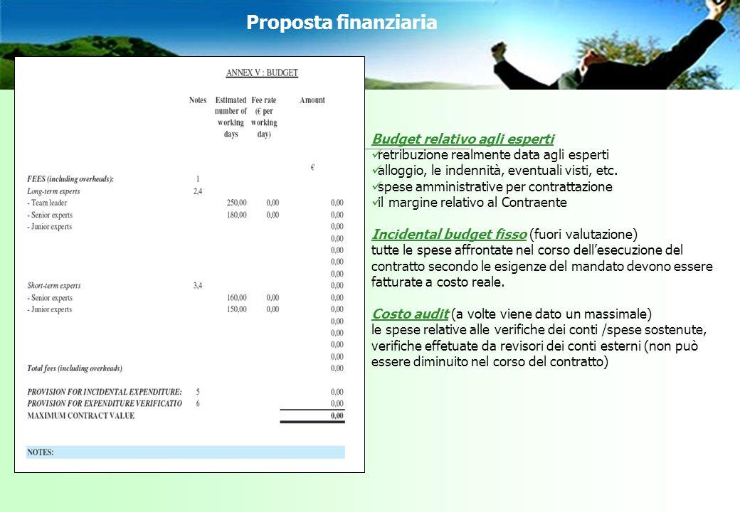 Proposta finanziaria Budget relativo agli esperti retribuzione realmente data agli esperti alloggio, le indennità, eventuali visti, etc.