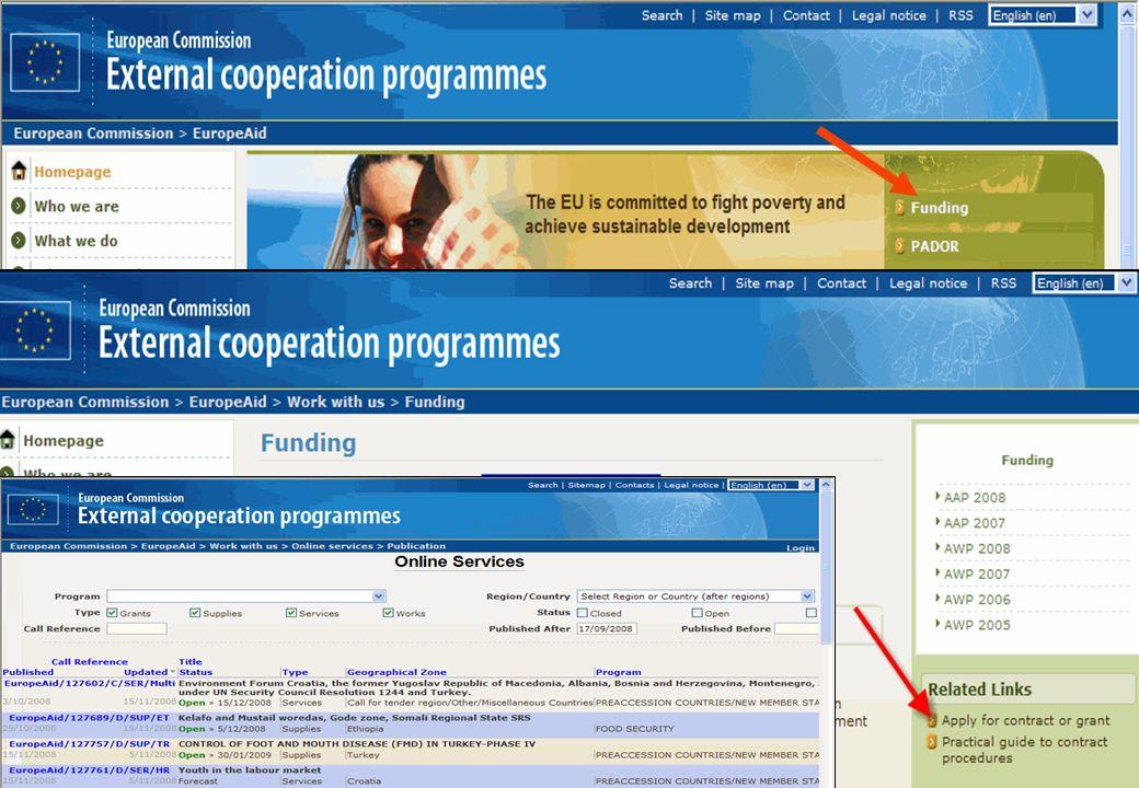 Le principali opportunità di finanziamento alle iniziative di Assistenza Tecnica sono presentate dalla CE nelle seguenti forme: Bandi di gara per servizi, lavori e forniture (Call for Tender) Contratti quadro (FWC) Inviti a presentare proposte (Call for Proposals) Come partecipare alle opportunità comunitarie