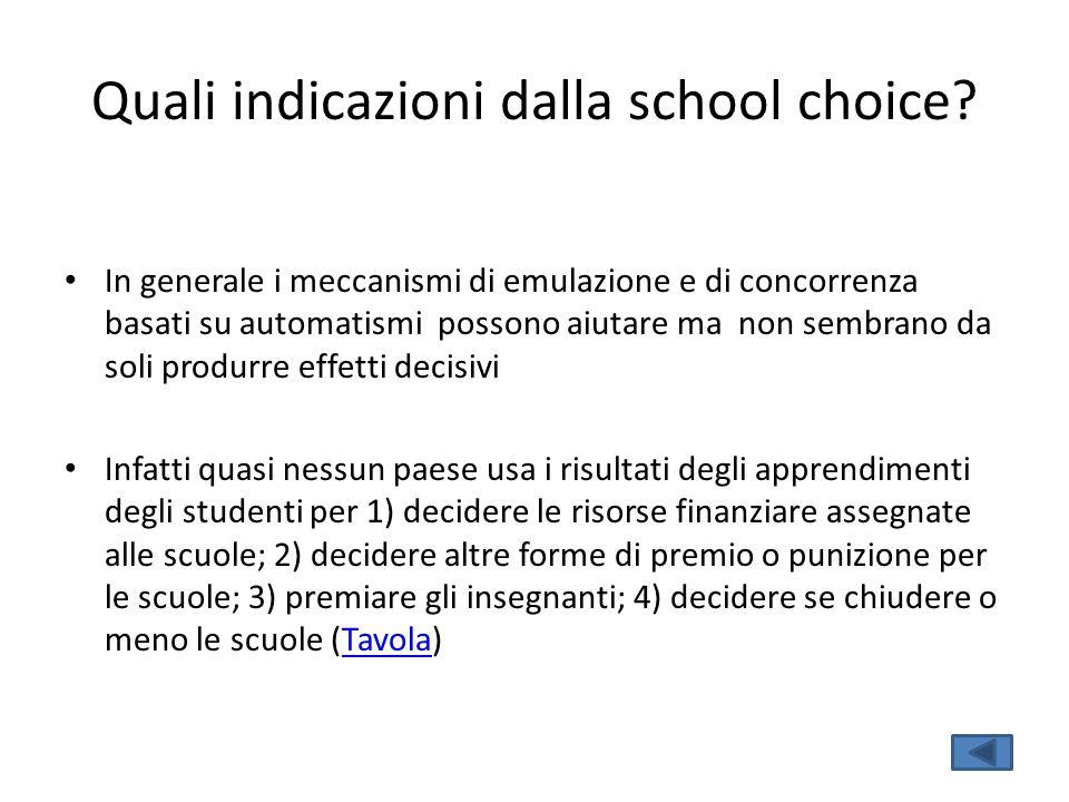 Quali indicazioni dalla school choice? In generale i meccanismi di emulazione e di concorrenza basati su automatismi possono aiutare ma non sembrano d