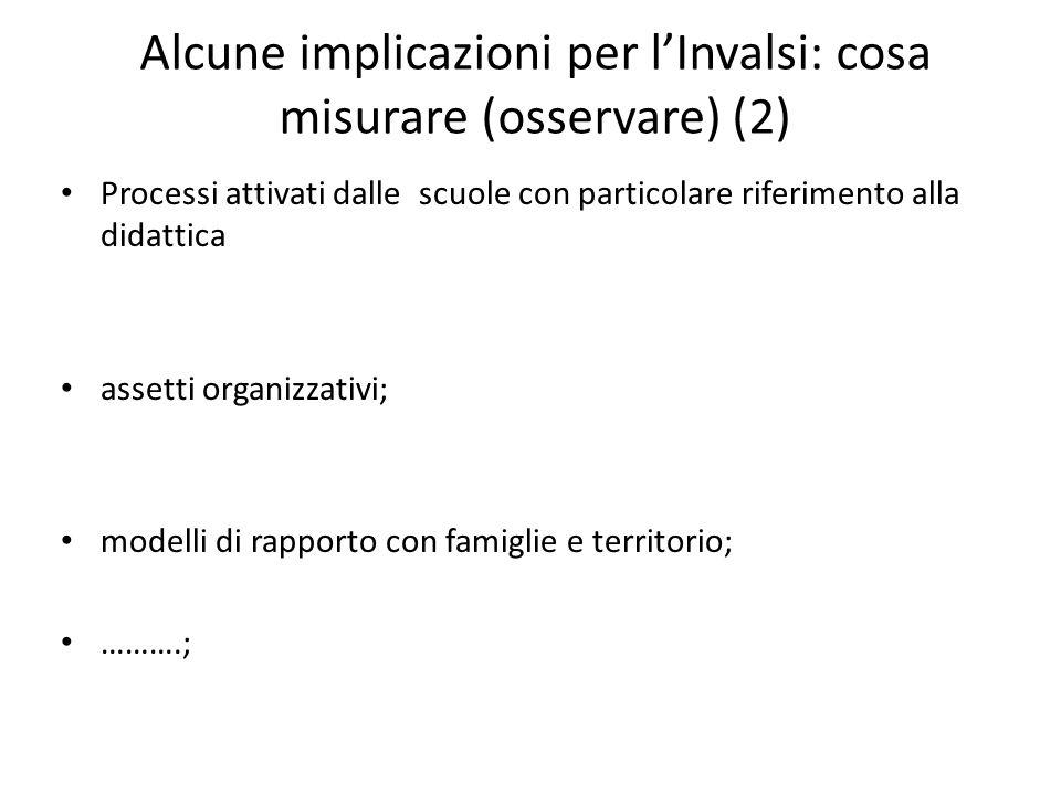 Alcune implicazioni per lInvalsi: cosa misurare (osservare) (2) Processi attivati dalle scuole con particolare riferimento alla didattica assetti orga