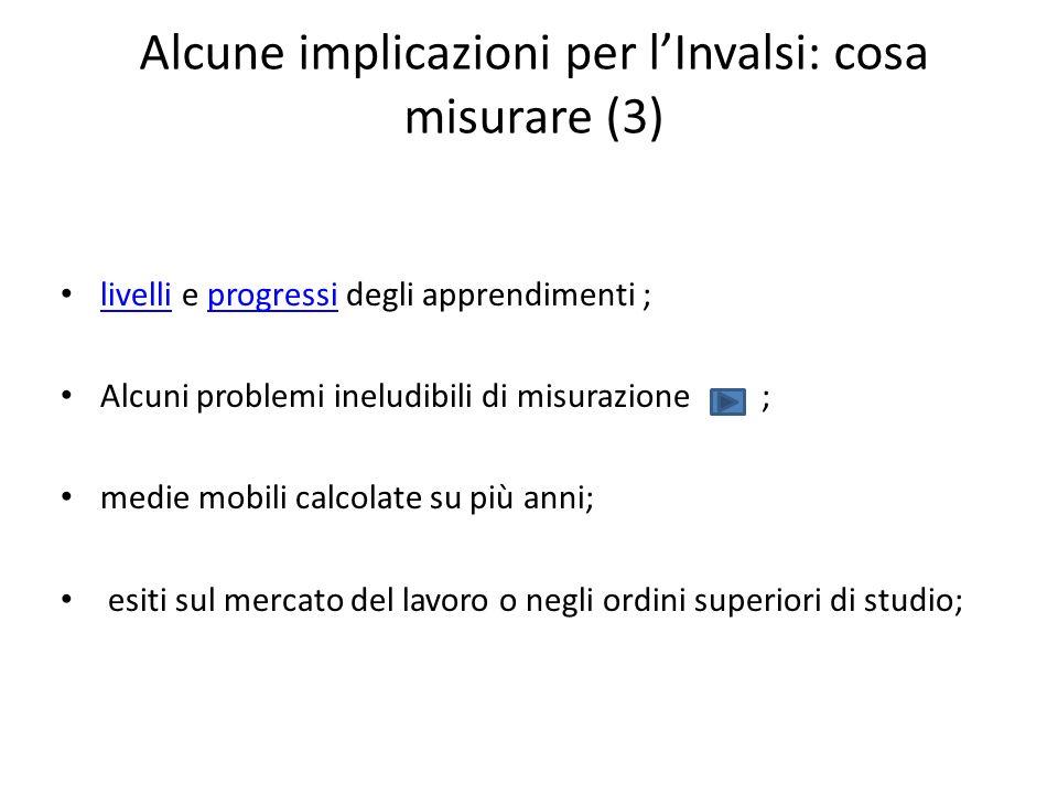 Alcune implicazioni per lInvalsi: cosa misurare (3) livelli e progressi degli apprendimenti ; livelliprogressi Alcuni problemi ineludibili di misurazi