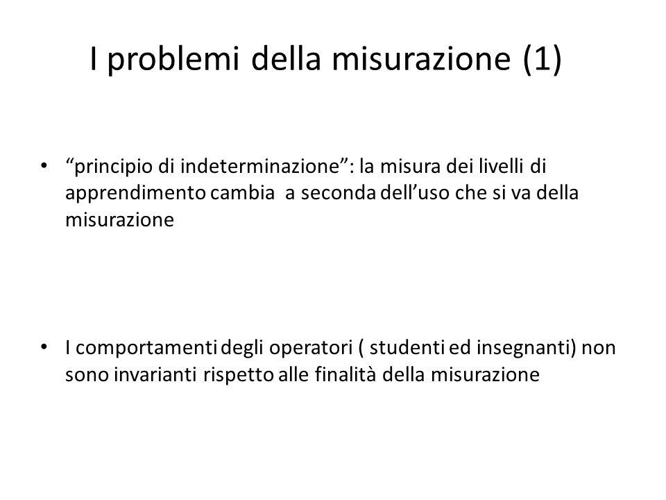 I problemi della misurazione (1) principio di indeterminazione: la misura dei livelli di apprendimento cambia a seconda delluso che si va della misurazione I comportamenti degli operatori ( studenti ed insegnanti) non sono invarianti rispetto alle finalità della misurazione