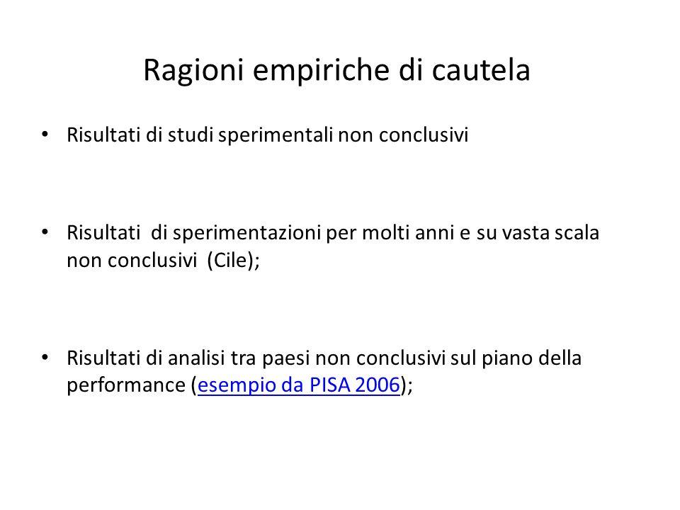 Ragioni empiriche di cautela Risultati di studi sperimentali non conclusivi Risultati di sperimentazioni per molti anni e su vasta scala non conclusivi (Cile); Risultati di analisi tra paesi non conclusivi sul piano della performance (esempio da PISA 2006);esempio da PISA 2006