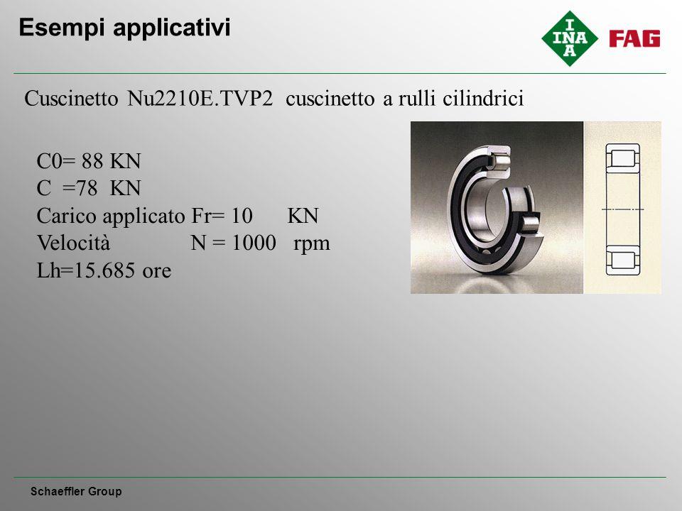 Esempi applicativi Schaeffler Group Cuscinetto Nu2210E.TVP2 cuscinetto a rulli cilindrici C0= 88 KN C =78 KN Carico applicato Fr= 10 KN Velocità N = 1000 rpm Lh=15.685 ore