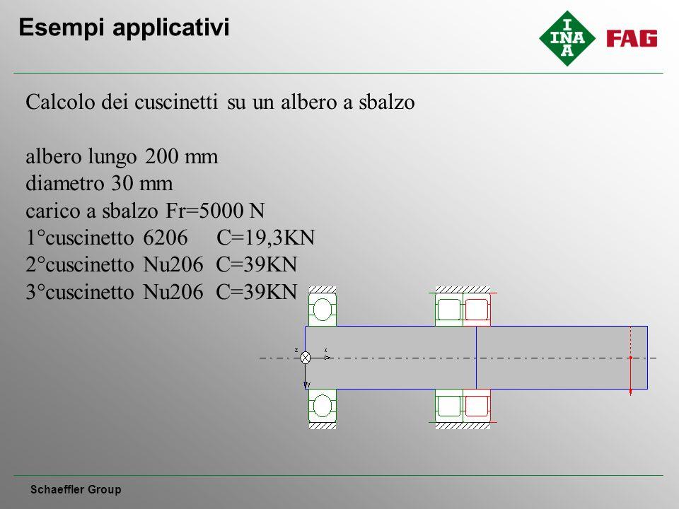 Esempi applicativi Schaeffler Group Calcolo dei cuscinetti su un albero a sbalzo albero lungo 200 mm diametro 30 mm carico a sbalzo Fr=5000 N 1°cuscinetto 6206 C=19,3KN 2°cuscinetto Nu206 C=39KN 3°cuscinetto Nu206 C=39KN