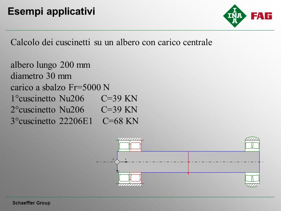 Esempi applicativi Schaeffler Group Calcolo dei cuscinetti su un albero con carico centrale albero lungo 200 mm diametro 30 mm carico a sbalzo Fr=5000 N 1°cuscinetto Nu206 C=39 KN 2°cuscinetto Nu206 C=39 KN 3°cuscinetto 22206E1 C=68 KN