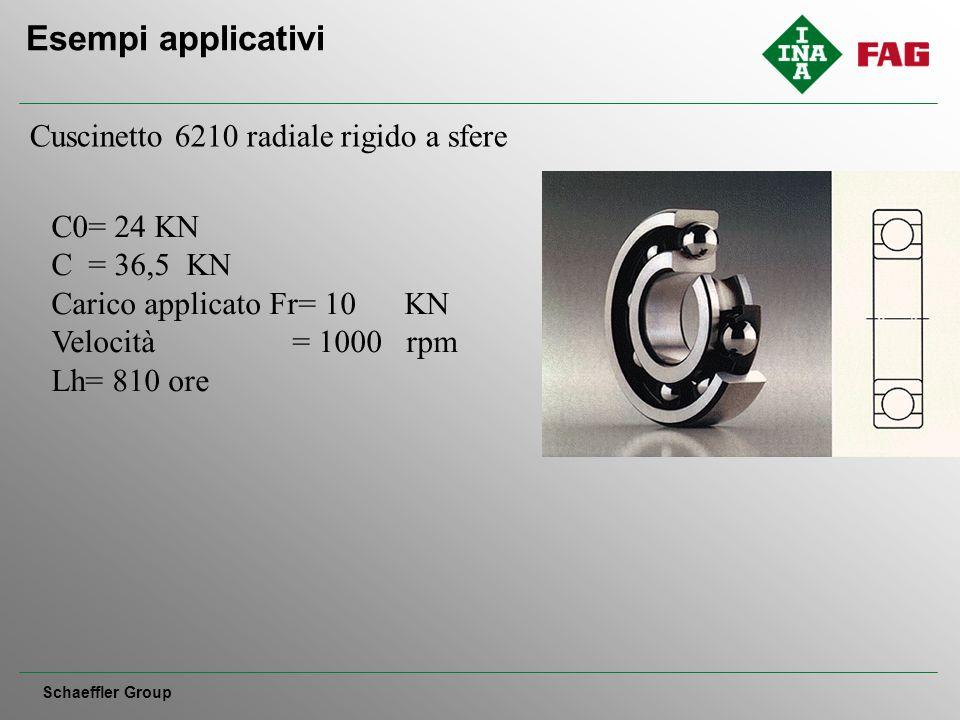 Esempi applicativi Schaeffler Group Cuscinetto 6210 radiale rigido a sfere C0= 24 KN C = 36,5 KN Carico applicato Fr= 10 KN Velocità = 1000 rpm Lh= 810 ore