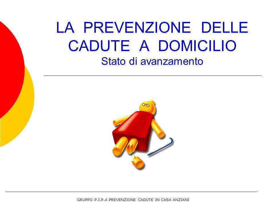 LA PREVENZIONE DELLE CADUTE A DOMICILIO Stato di avanzamento GRUPPO P.I.P.A PREVENZIONE CADUTE IN CASA ANZIANI