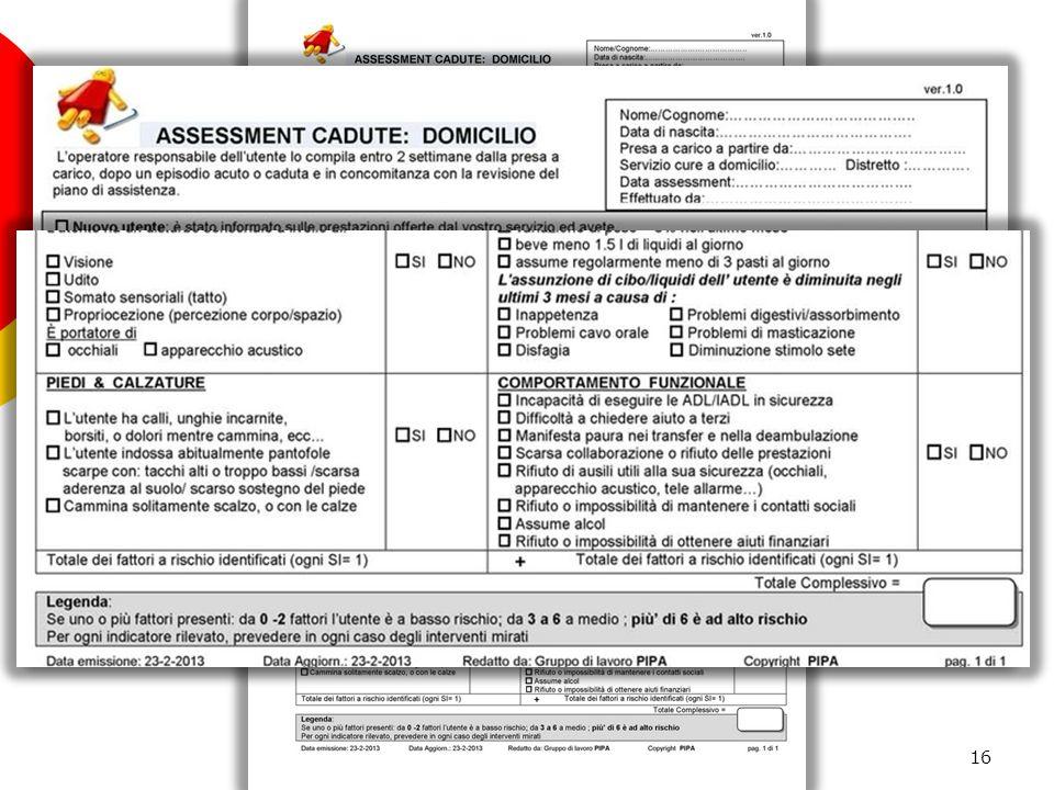 Assessment cadute: Domicilio 16 GRUPPO P.I.P.A PREVENZIONE CADUTE IN CASA ANZIANI