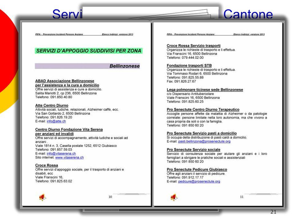 Servizi territoriali presenti nel Cantone Ticino rivolti allanziano al domicilio 21 GRUPPO P.I.P.A PREVENZIONE CADUTE IN CASA ANZIANI
