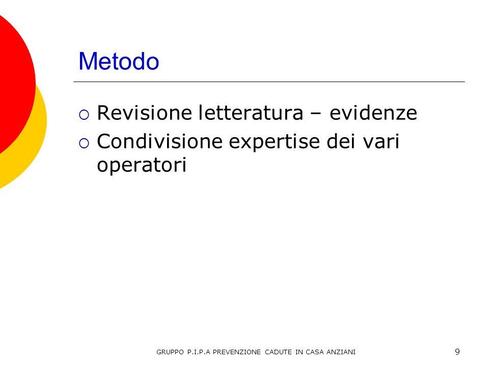 Metodo Revisione letteratura – evidenze Condivisione expertise dei vari operatori 9 GRUPPO P.I.P.A PREVENZIONE CADUTE IN CASA ANZIANI