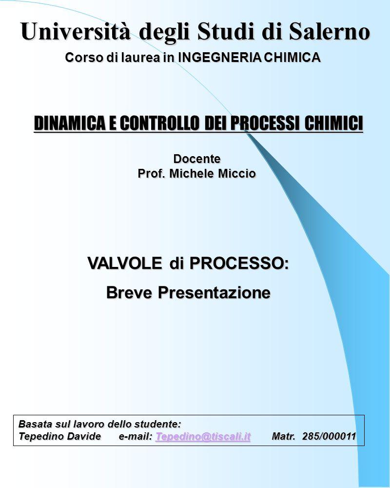 DINAMICA E CONTROLLO DEI PROCESSI CHIMICI Basata sul lavoro dello studente: Tepedino Davidee-mail: Tepedino@tiscali.it Matr.