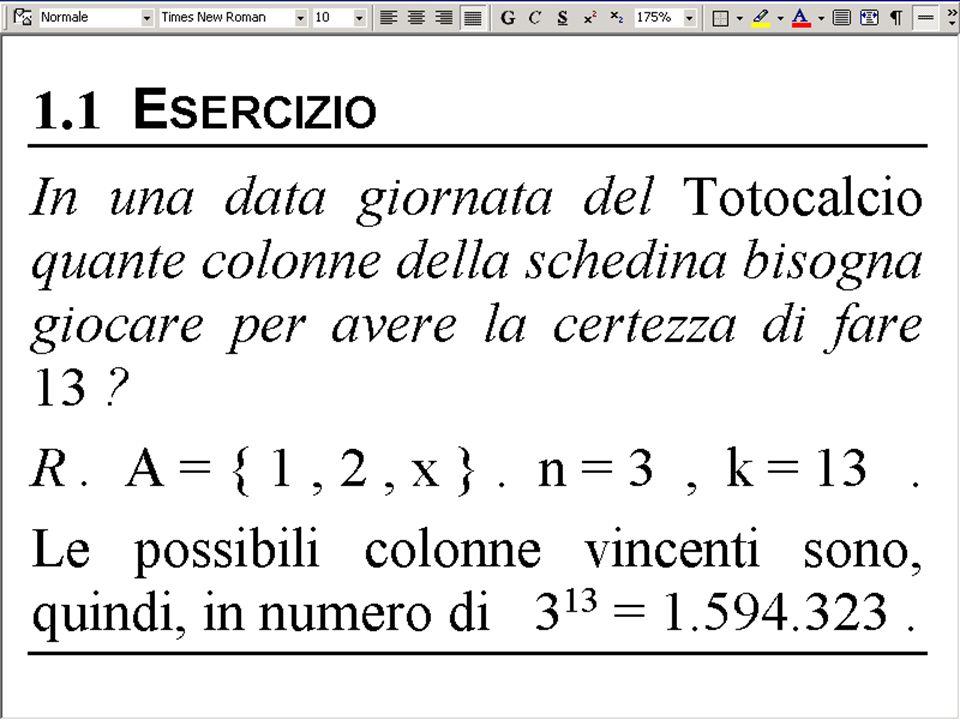 DISPOSIZIONI SEMPLICI di 4 oggetti a 3 A a b c d a b c b a c c a b c b d b a d c b a Le disposizioni semplici di n oggetti a k a k sono in numero di D n, k Disposizioni semplici