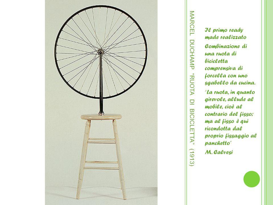 MARCEL DUCHAMP RUOTA DI BICICLETTA (1913) Il primo ready made realizzato Combinazione di una ruota di bicicletta comprensiva di forcella con uno sgabe