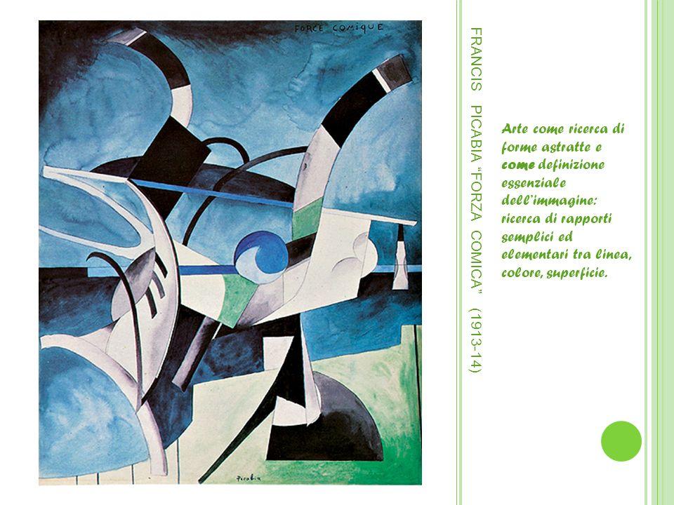 FRANCIS PICABIA FORZA COMICA (1913-14) Arte come ricerca di forme astratte e come definizione essenziale dellimmagine: ricerca di rapporti semplici ed