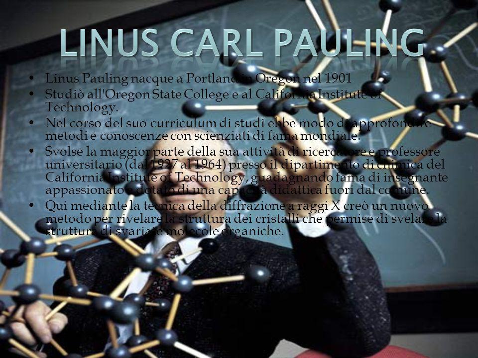 Linus Pauling nacque a Portland in Oregon nel 1901 Studiò all'Oregon State College e al California Institute of Technology. Nel corso del suo curricul