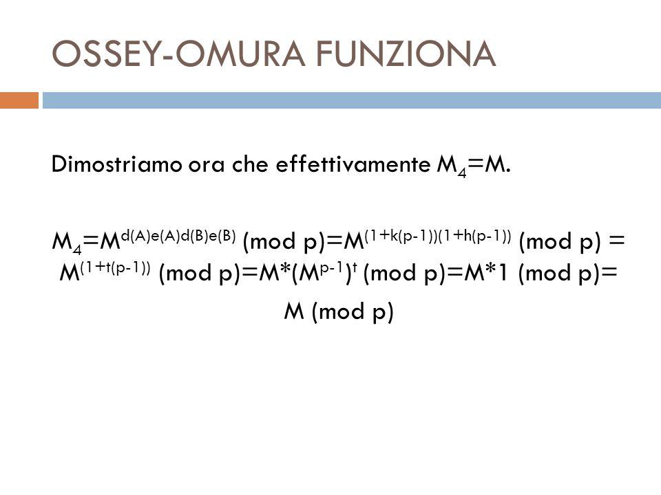 OSSEY-OMURA FUNZIONA Dimostriamo ora che effettivamente M 4 =M. M 4 =M d(A)e(A)d(B)e(B) (mod p)=M (1+k(p-1))(1+h(p-1)) (mod p) = M (1+t(p-1)) (mod p)=