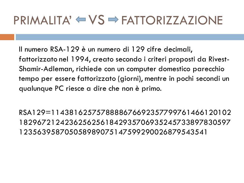 PRIMALITA VS FATTORIZZAZIONE Il numero RSA-129 è un numero di 129 cifre decimali, fattorizzato nel 1994, creato secondo i criteri proposti da Rivest-