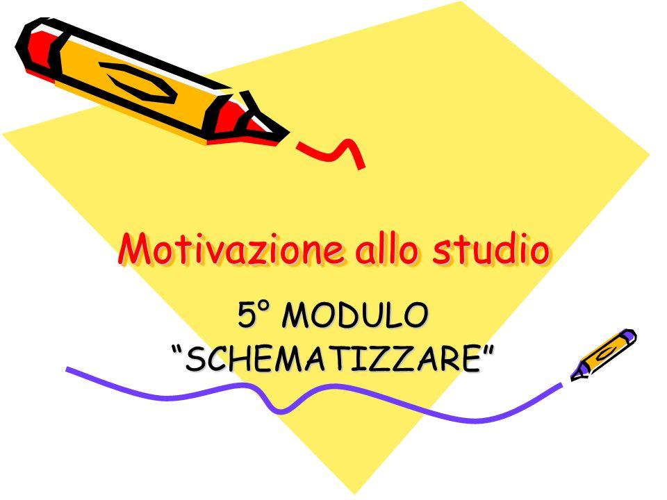Motivazione allo studio 5° MODULO SCHEMATIZZARE