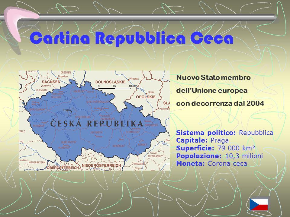Cartina Repubblica Ceca Nuovo Stato membro dell Unione europea con decorrenza dal 2004 Sistema politico: Repubblica Capitale: Praga Superficie: 79 000 km² Popolazione: 10,3 milioni Moneta: Corona ceca