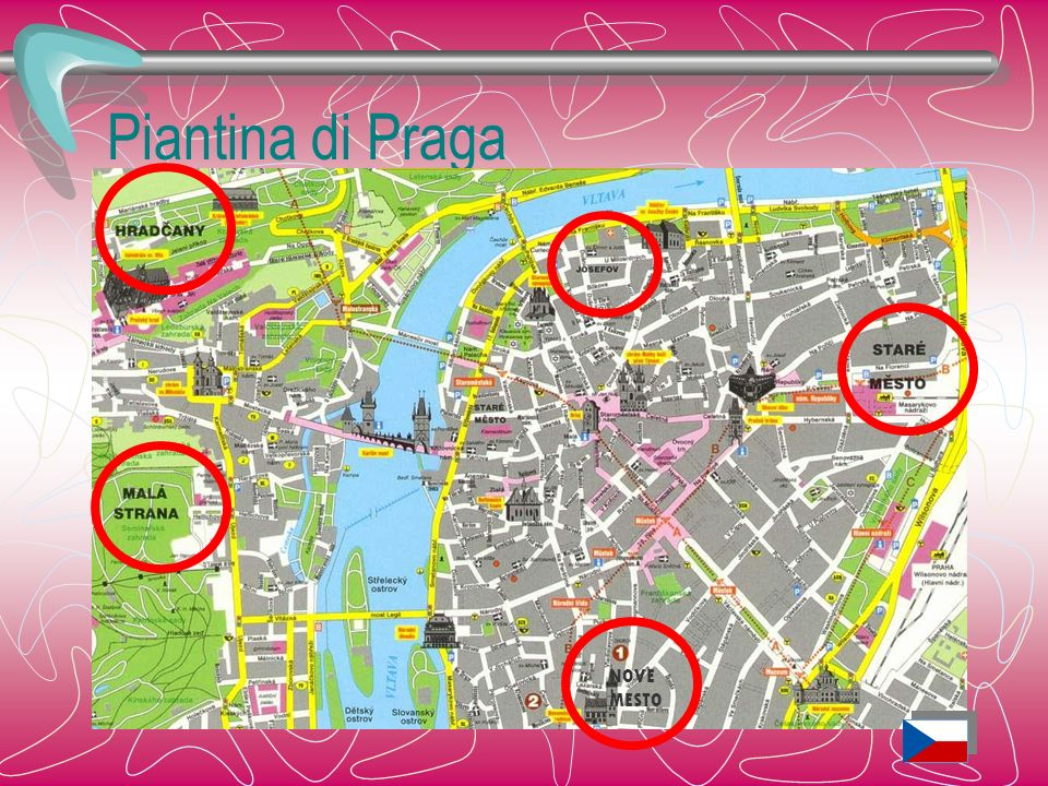 Via Nerudova La via, tra le più amate di Praga, sale verso il Catello (Hrad), fiancheggiata da molti edifici barocchi.