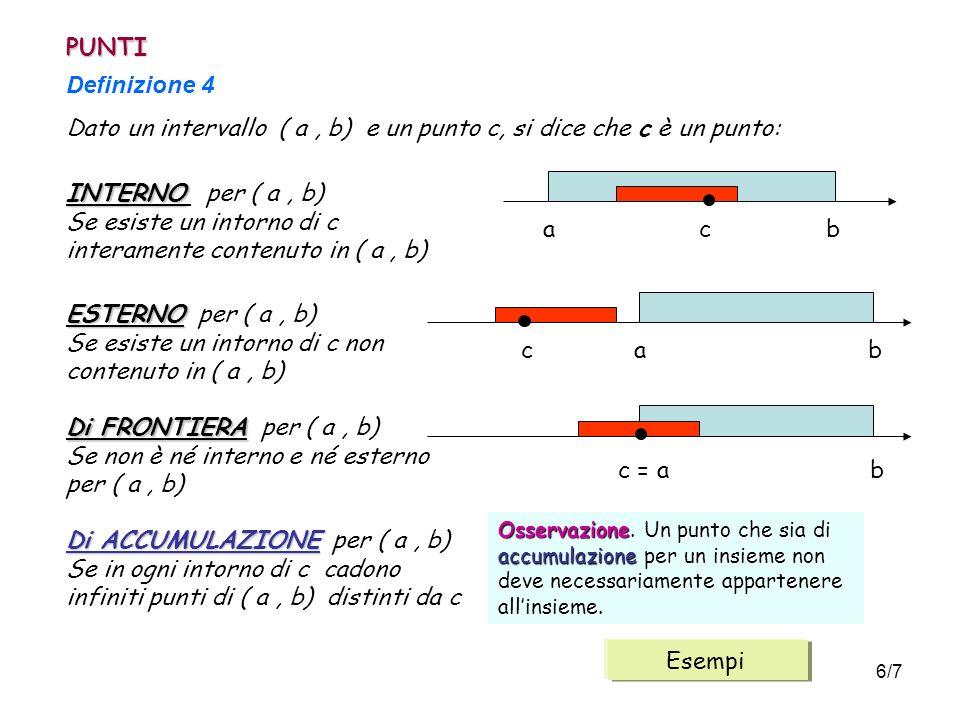 6/7 PUNTI Definizione 4 Dato un intervallo ( a, b) e un punto c, si dice che c è un punto: INTERNO INTERNO per ( a, b) Se esiste un intorno di c inter