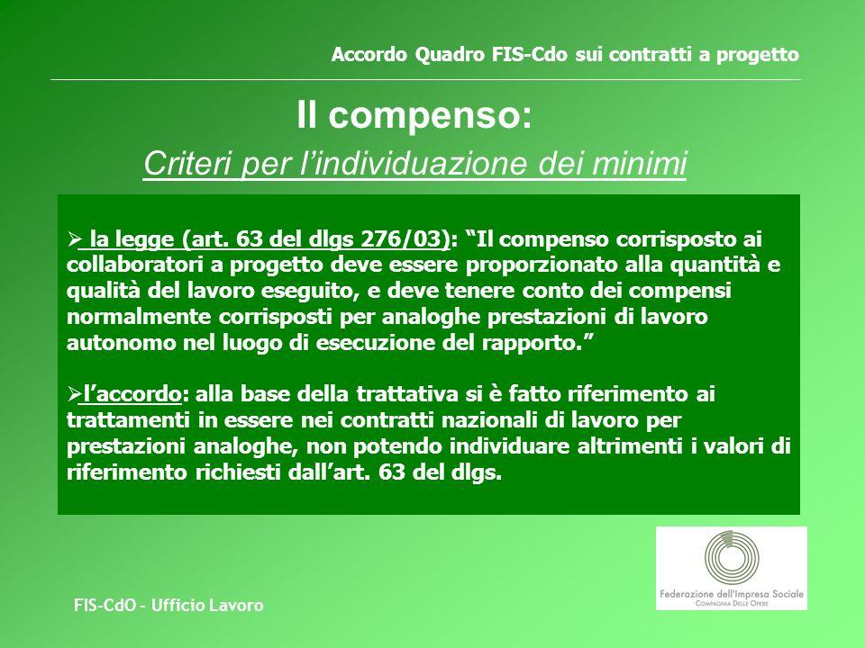 FIS-CdO - Ufficio Lavoro Accordo Quadro FIS-Cdo sui contratti a progetto Il compenso: Criteri per lindividuazione dei minimi la legge (art.