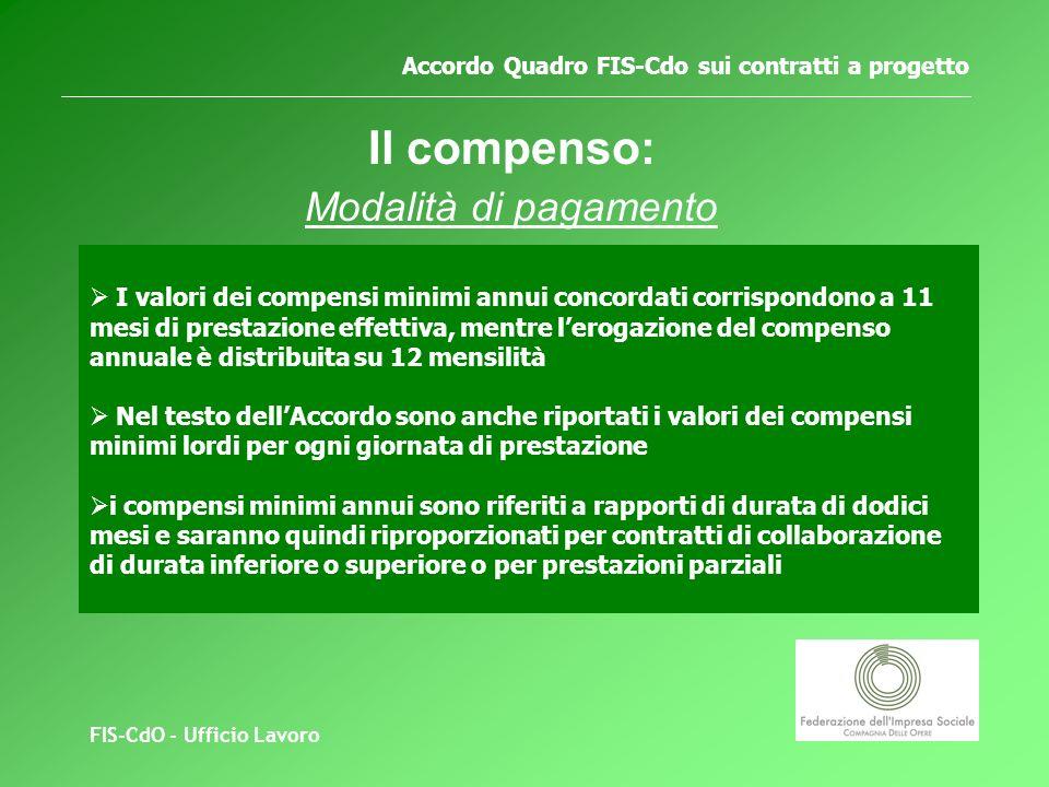 FIS-CdO - Ufficio Lavoro Accordo Quadro FIS-Cdo sui contratti a progetto Il compenso: Modalità di pagamento I valori dei compensi minimi annui concordati corrispondono a 11 mesi di prestazione effettiva, mentre lerogazione del compenso annuale è distribuita su 12 mensilità Nel testo dellAccordo sono anche riportati i valori dei compensi minimi lordi per ogni giornata di prestazione i compensi minimi annui sono riferiti a rapporti di durata di dodici mesi e saranno quindi riproporzionati per contratti di collaborazione di durata inferiore o superiore o per prestazioni parziali