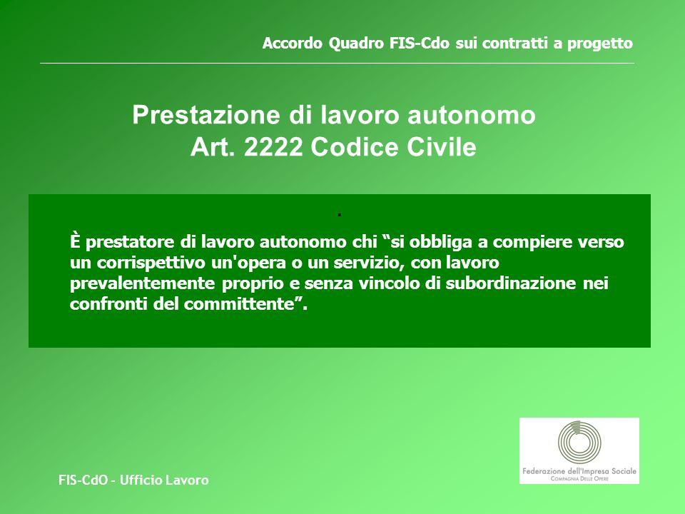 FIS-CdO - Ufficio Lavoro Accordo Quadro FIS-Cdo sui contratti a progetto Prestazione di lavoro autonomo Art.